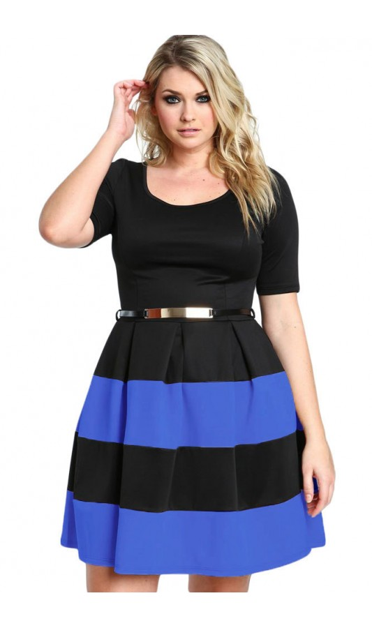 Rochie XXL Charming Stripes Blue