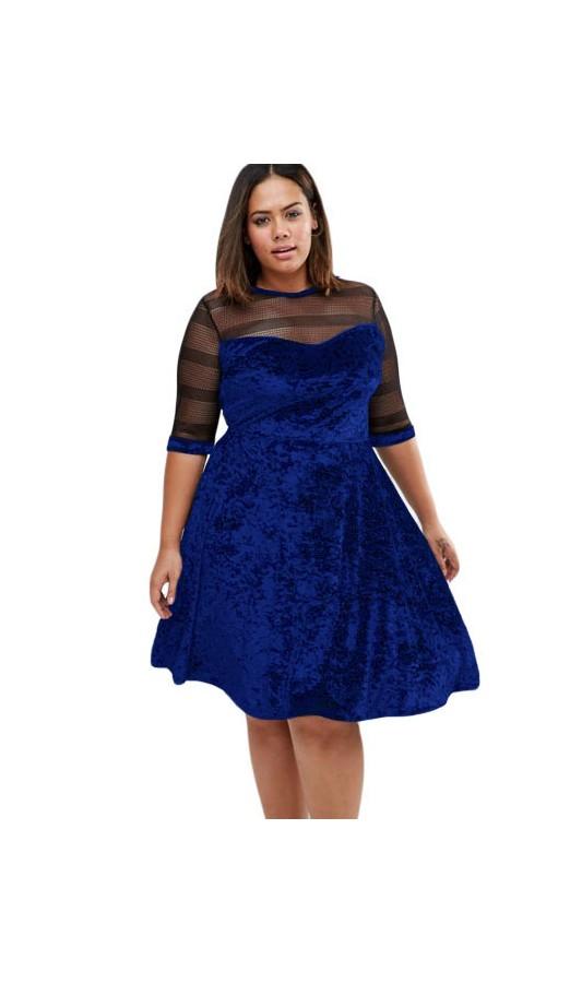 Rochie XXL Velvet Swing Blue