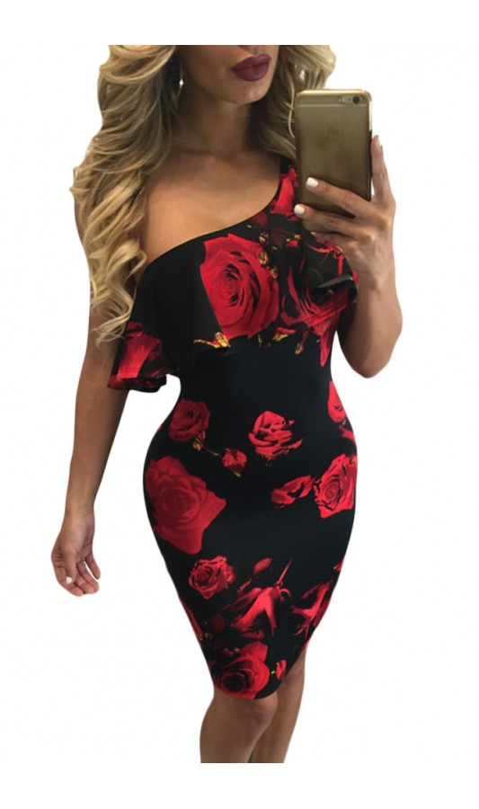 Rochie Red Rose Print