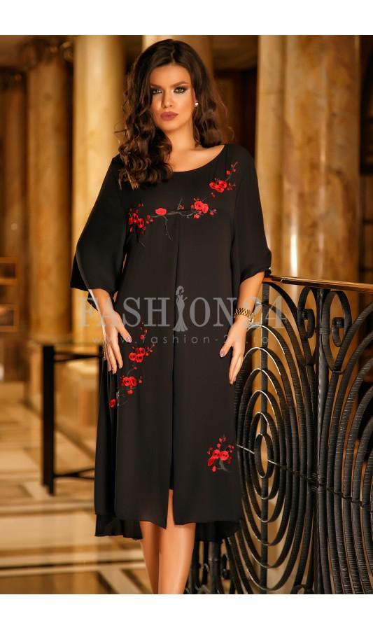 Rochie Black Flowers
