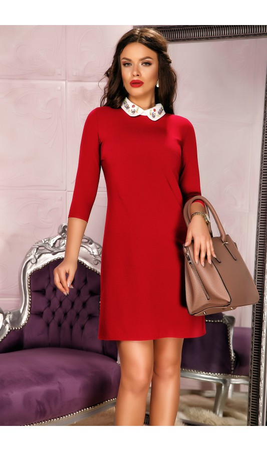 Rochie rosie office cu aceesorii la gat