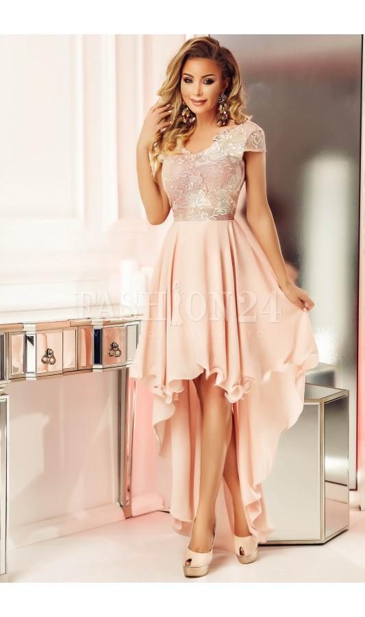 Rochie rose eleganta cu trena