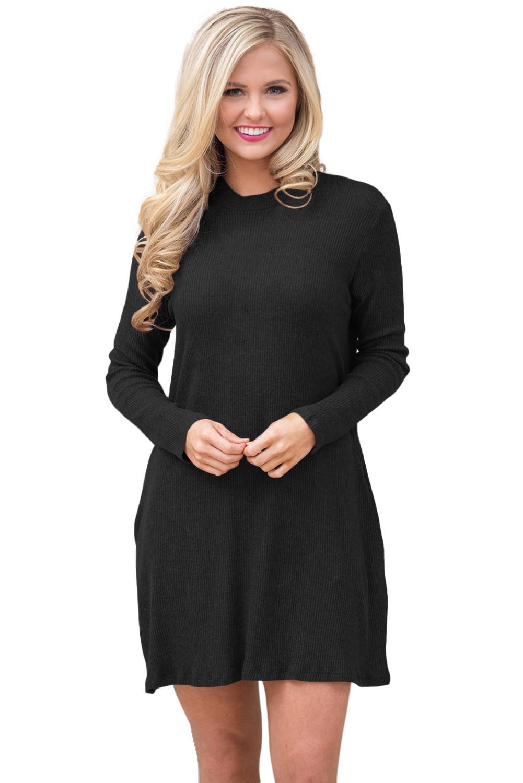 G586-1 Rochie scurta de zi, stil pulover, cu maneci lungi si guler inalt