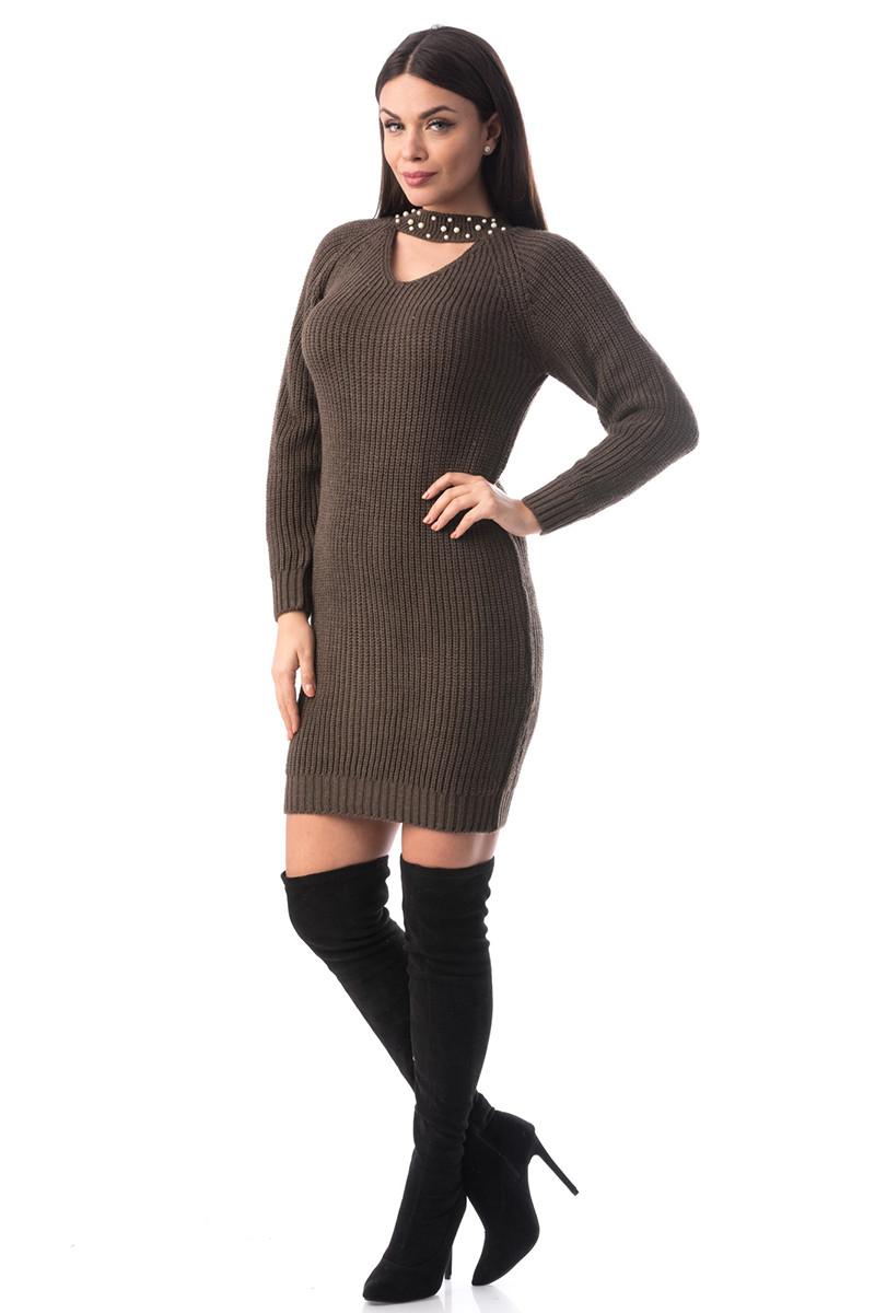J936-8 Rochie scurta si tricotata cu choker