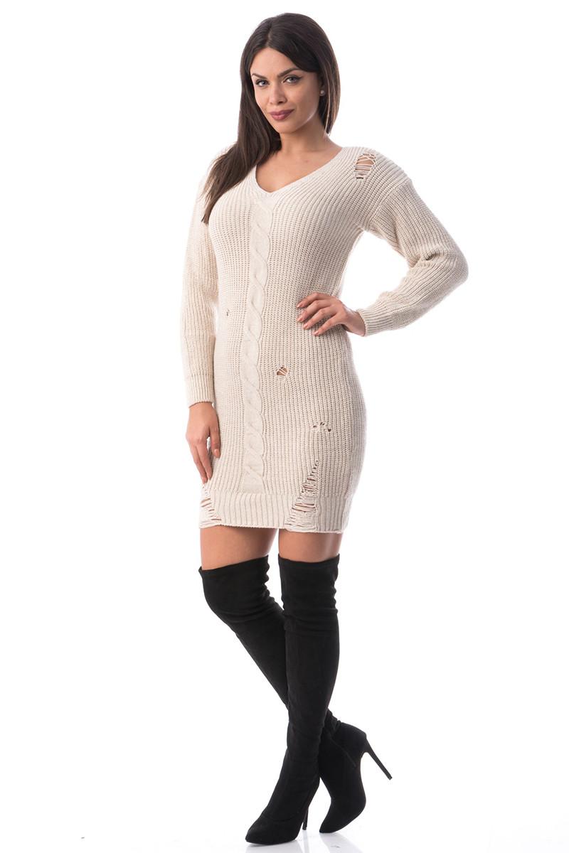 J950-15 Rochie tricotata cu rupturi stylish