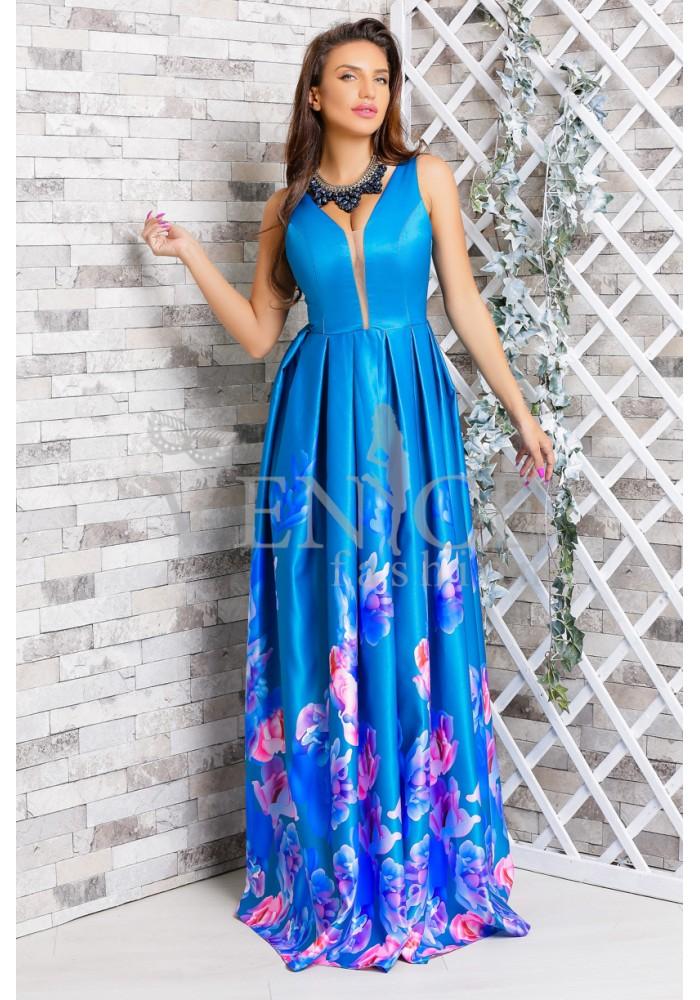 Rochie albastra Sabrina lunga de seara, satinata cu flori roz si cu aplicatie din strasuri pretioase