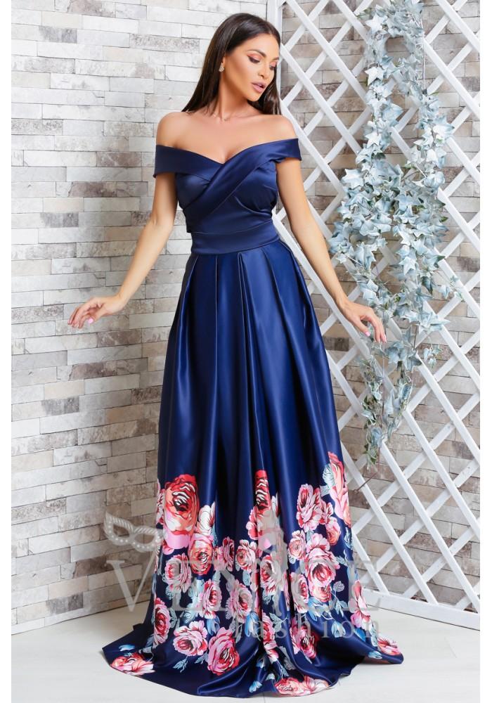 Rochie Saphire lunga de seara bleumarin cu trandafiri satinata