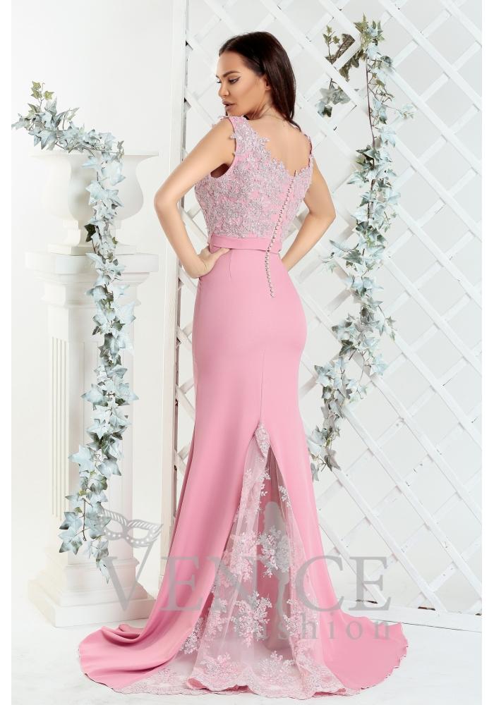 Rochie eleganta roz cu trena Crina