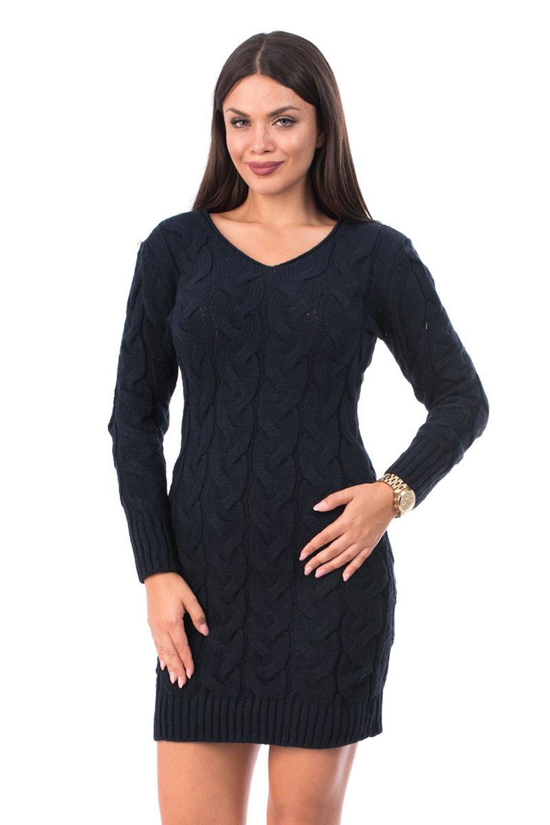 V542-44 Rochie stil pulover cu maneci lungi si impletituri ample