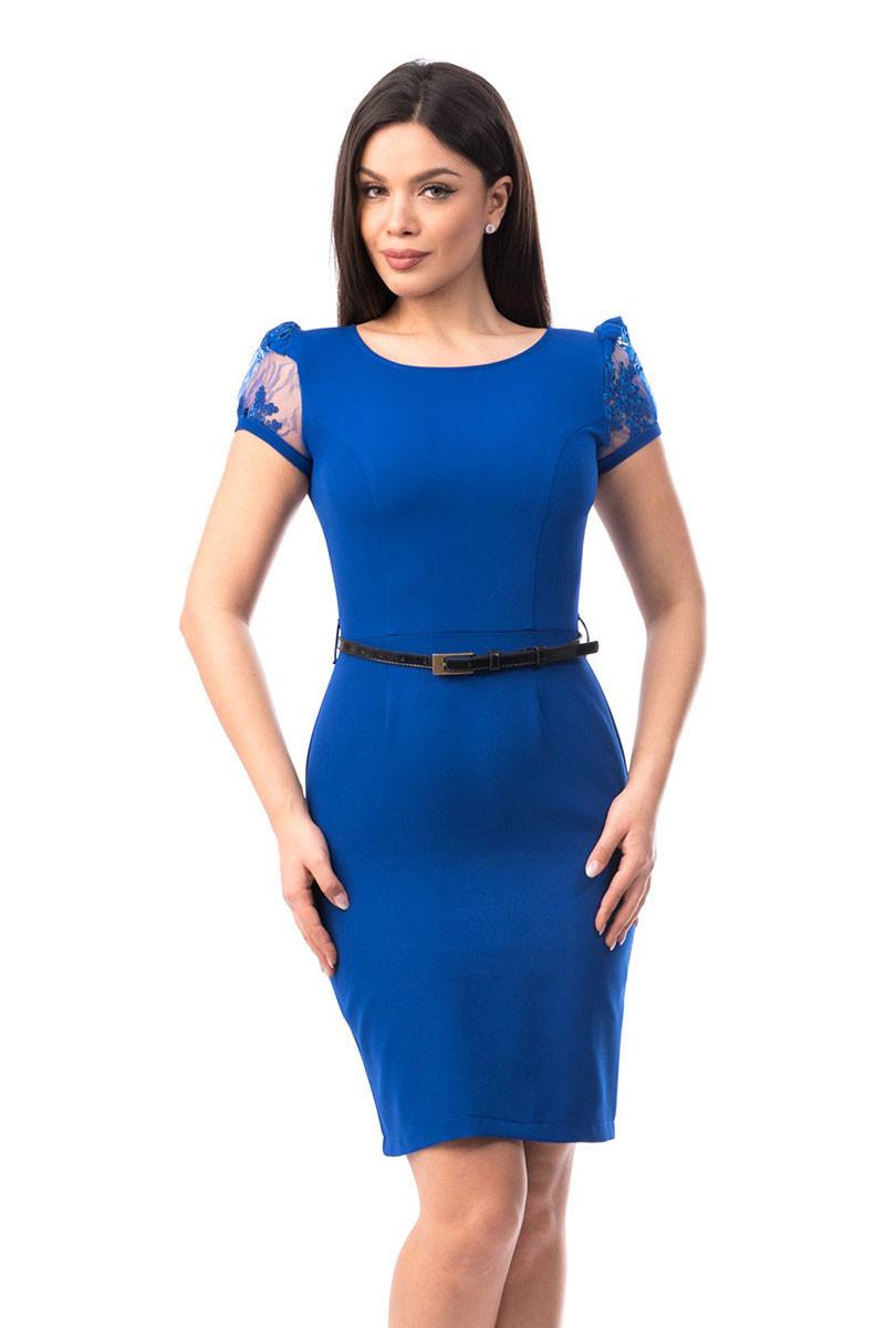 E573-4 Rochie albastra, stil office cu maneci scurte din tull