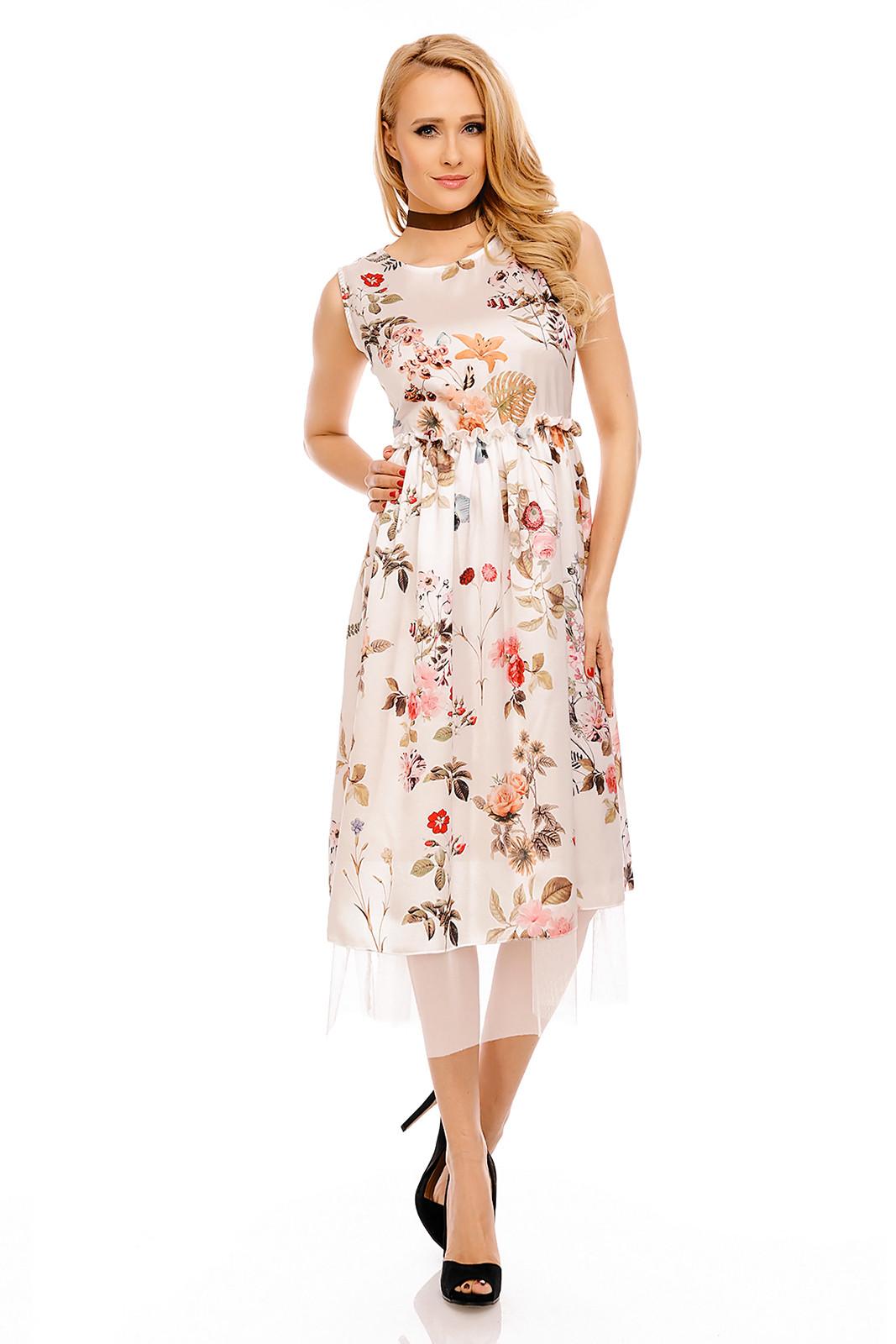 N778-23 Rochie midi cu elastic in talie si imprimeu floral