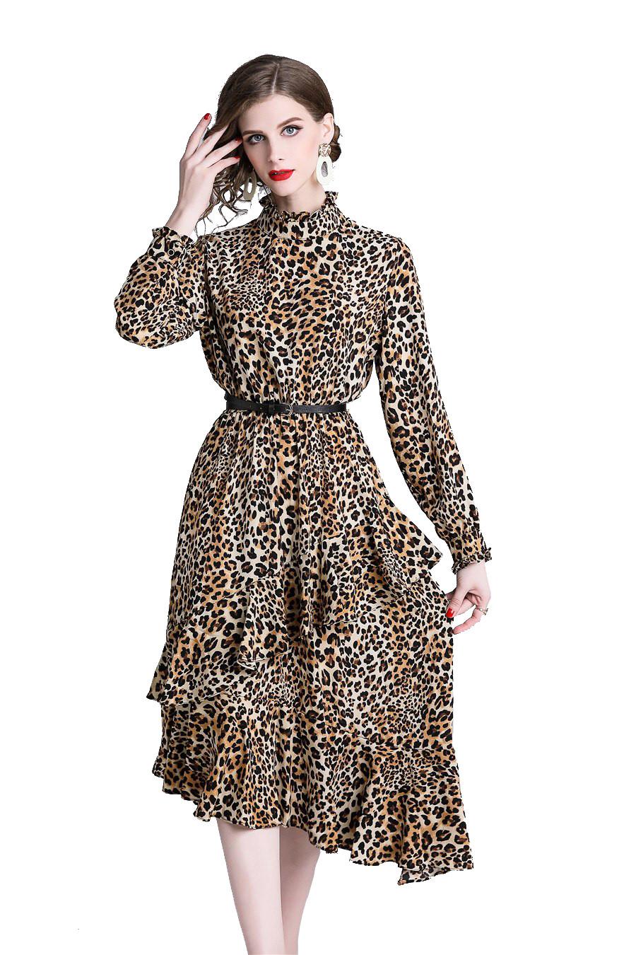 M689-99 Rochia asimetrica cu imprimeu leopard